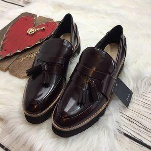 Zara Oxblood Patent Leather Platform Loafers